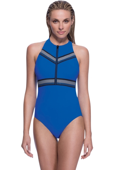 Profile Sport by Gottex Impact Blue High Neck Zipper Racerback One Piece Swimsuit