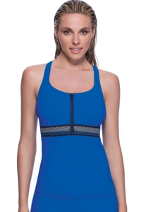 Profile Sport by Gottex Impact Blue Zipper D-Cup Underwire Racerback Tankini Top
