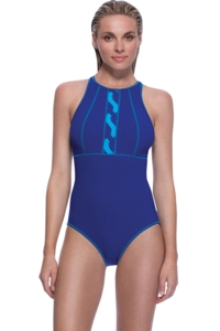 Profile Sport by Gottex DNA Indigo High Neck V-Back One Piece Swimsuit