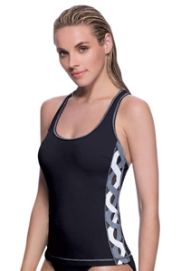 Profile Sport by Gottex DNA Black/White Y-Back Tankini Top