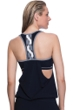 Profile Sport by Gottex DNA Black/White D-Cup Blouson Y-Back Tankini Top with attached Swim Bra