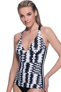 Profile Sport by Gottex White Noise V-Neck Tankini Top
