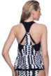 Profile Sport by Gottex White Noise D-Cup Blouson Racerback Tankini Top with attached Swim Bra