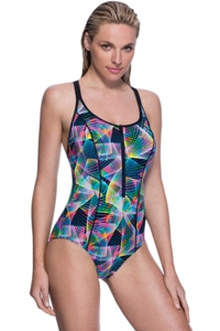 Profile Sport by Gottex Spirograph Zipper Strappy Back One Piece Swimsuit