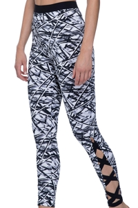 Free Sport Off Track Black and White Strappy Sides Long Legging