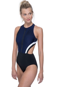 Free Sport Next Level Zip Front High Neck Cut Out X-Back One Piece Swimsuit