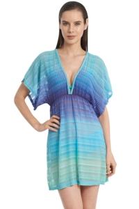 Jordan Taylor Aquamarine Ombre V-Neck Textured Tunic