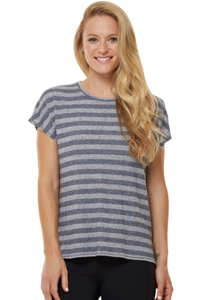Shape Heather Grey Stripe Boxy Tee