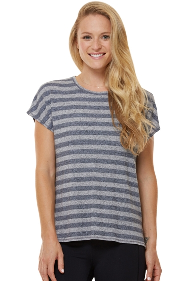 Shape Heather Grey Stripe Boxy Tee
