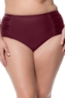 Jessica Simpson Plus Size Merlot Side Shirred High Waisted Bikini Bottom