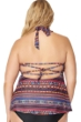 Jessica Simpson Plus Size Cherokee Queen High Neck Keyhole Tankini Top