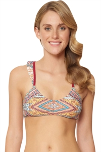 Jessica Simpson Day Tripper Ruffled Strap Bralette Bikini Top