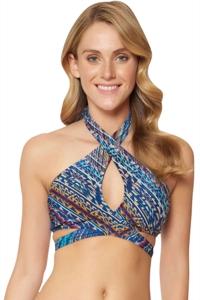 Jessica Simpson Dusty Road Keyhole Cross Front Halter Bikini Top