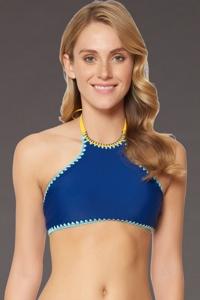 Jessica Simpson Woodstock Marine/Peri Reversible High Neck Bikini Top