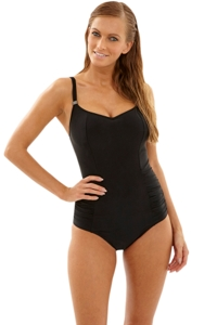 Panache Black Anya J-Cup Underwire Balconnet One Piece Swimsuit