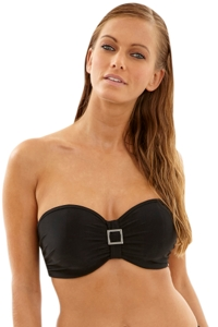 Panache Black Anya DD-Cup Underwire Bandeau Bikini Bra