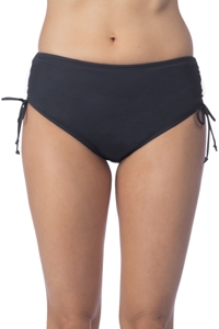 24th & Ocean Solid Black Adjustable Brief Tankini Bottom