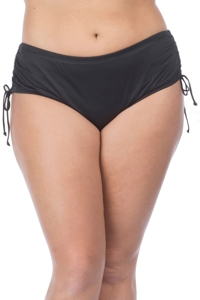 24th & Ocean Plus Size Solid Black Adjustable Brief Swim Bottom