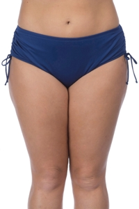 24th & Ocean Plus Size Solid Navy Adjustable Brief Swim Bottom