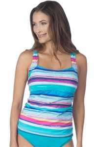 24th & Ocean Samba Stripe Criss Cross Tankini Top