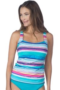 24th & Ocean Samba Stripe Criss Cross Tankini Top
