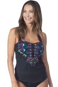 24th & Ocean Solid Black Scarf Hem Bandeau Halter Tankini Top