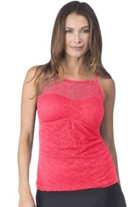 24th & Ocean Sheer Brilliance Watermelon Crochet High Neck Tankini Top