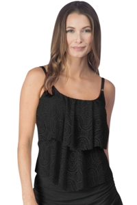 24th & Ocean Sheer Brilliance Black Crochet Tiered Tankini Top