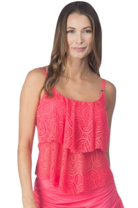 24th & Ocean Sheer Brilliance Watermelon Crochet Tiered Tankini Top
