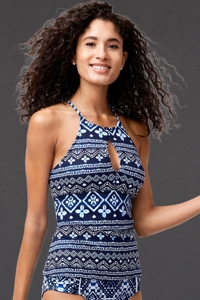 Reversible Tommy Bahama Indigo Cowrie Diamonds High Neck Tankini Top