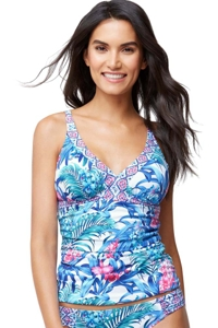 Tommy Bahama Majorelle Jardin Shirred V-Neck Tankini Top