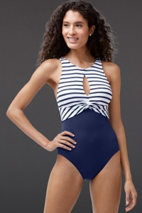 Tommy Bahama Channel Surfing Twist Front High Neck One Piece Swimsuit