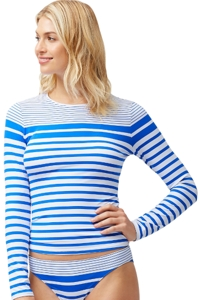 Tommy Bahama Blue Beach Glass Stripe Long Sleeve Rash Guard