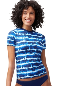 Tommy Bahama Mare Navy Tie Dye Stripe Short Sleeve Rash Guard