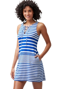 Tommy Bahama Blue Beach Glass Stripe Lace Up Short Dress with Pockets