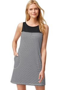 Tommy Bahama Black and White Little Stripe High Neck Swim Dress with Pockets