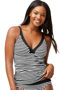 Tommy Bahama Black and White Little Stripe V-Neck Tankini Top