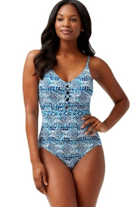 Tommy Bahama Caledon Sea Floral Isles Lace Up Plunge One Piece Swimsuit