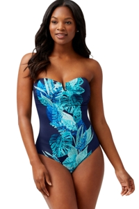 Tommy Bahama Mare Navy Floral Isles Bandeau Strapless One Piece Swimsuit