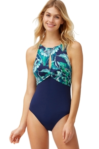 Tommy Bahama Mare Navy Breezy Palms Twist Front High Neck One Piece Swimsuit