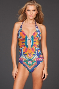 Trina Turk Tapestry V Neck Plunge One Piece Swimsuit