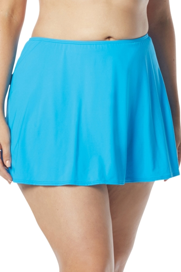 Coco Reef Plus Size Solid Blue Skirted Tankini Bottom