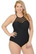 Raisins Curve Plus Size Solid Black Crochet One Piece Swimsuit