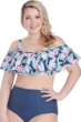 Raisins Curve Aloha Waters Plus Size Tortuga Off The Shoulder Flounce Bikini Top