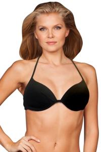 Zali Black Underwire Halter Tie Back Bikini Top