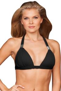 Zali Black Plunge Triangle Halter Bikini Top