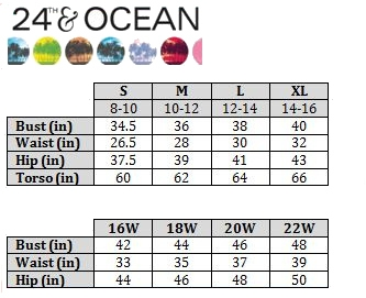 24th and Ocean Size Chart
