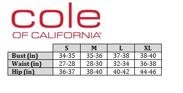 Cole of California Size Chart