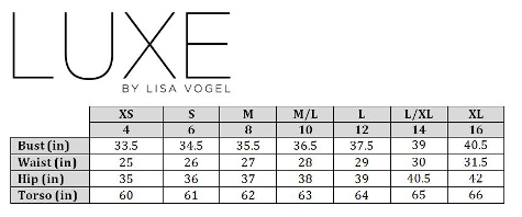 Luxe Size Chart