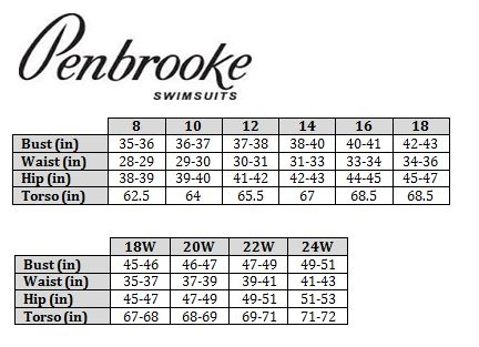Penbrook Swimsuits Size Chart